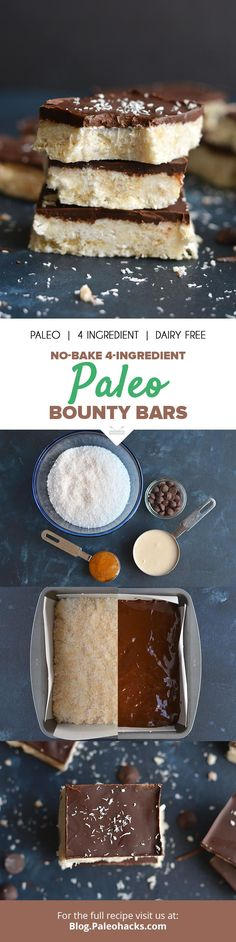 Bite into these Paleo Bounty Bars covered with dark chocolate for a sweet, no-bake treat! Get the full recipe here: http://paleo.co/bountybarrcp