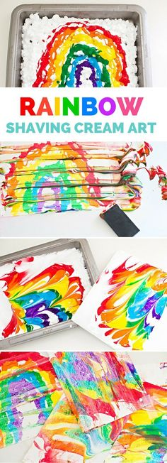 Rainbow Shaving Cream Marbled Art. Super easy art project for kids that produces vibrant colorful results!