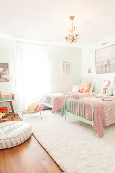 Shared Room Inspiration With The Land Of Nod Girl Room Ideas Decorar Habitacion, Jenny Lind Bed, Shared Rooms, Girls Shared Bedrooms, Shabby Chic Bedrooms, Trendy Bedroom, Simple Girls Bedroom, Girls Bedroom Colors, Bedroom Neutral