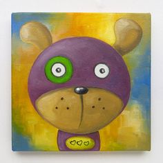 Purple Dog Original Art Dog Lovers Animals Oil on by MikiMayoShop