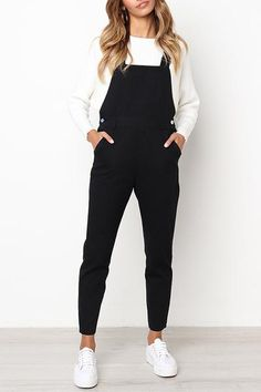 Orsle Leisure Black One-piece Jumpsuits - - Outfit ideen - Mode Outfits, Trendy Outfits, Fall Outfits, Woman Outfits, Hipster Outfits, Outfits 2016, Unique Outfits, Everyday Outfits Simple, Simple Casual Outfits