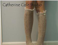 FREE SHIP Tan heather bunny  soft knee long by CatherineColeStudio, $23.90