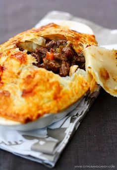 Beef and Red Wine Pot Pie with Braised Cabbage - Citrus and Candy
