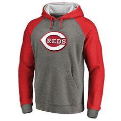 Cincinnati Reds Primary Logo Raglan Sleeve Tri-Blend Pullover Hoodie - Ash