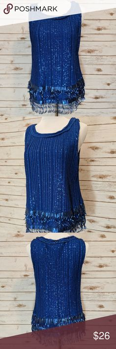 "NWT M.S.S.P Royal Blue Sequin Fringe Top M NWT Max Studio Specialty Products Sequin Fringe Royal Blue Top Size Medium  This top totally gives me The Great Gatsby 20's vibes! It is so perfect for Holidays & especially New Years!  Pit to Pit: 17"" flat across Length: 22.5"" Condition:  NWT M.S.S.P. Tops Tank Tops"