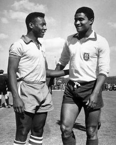 Pele & Eusebio - April 211963 - Portugal v Brasil 2 greats