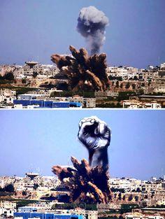 Palestinians turn smoke from israeli rocket strikes into Powerful Images!! Must SEE!! #speakforpalestine