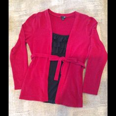 Long sleeve top Red long sleeve top - light sweater material. Built-in front black silky camisole - with a top ruffle. Lightly used. East 5th Sweaters Crew & Scoop Necks