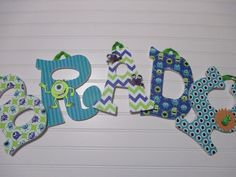 "BRADY - 11.00 PER LETTER boy's name, 8-1/2""  wooden nursery letters, monster theme, monsters, inc., turquoise, lime green, chevron by AnniesBowKisses on Etsy"