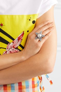 Miu Miu - Silver-plated, Crystal And Faux Pearl Ring -