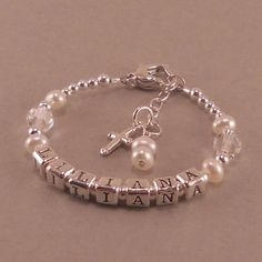 Baptism Bracelet baby christening gifts by SixSistersBeadworks, $48.00