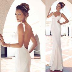 Vestido de Noiva vestidos Novias 2014 Sexy Backless Simple White Trumpet Wedding Dress Mermaid Free Shipping Bridal Dresses