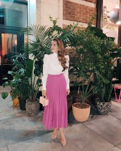 Gal Meets Glam GMG Now Daily Look 2-23-18 Frame top, Co skirt, Gianvito Rossi pumps, and Mark Cross bag