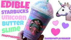EDIBLE STARBUCKS UNICORN FRAPPUCCINO BUTTER SLIME!!!  STRETCHY PLAY DOH ...