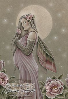 Art Print - The Gift by Jessica Galbreth-Jessica, Galbreth, pregnancy, baby, birth, child, mother, rose, fairy, faery, faerie, pink,Art print, fine art print, print, archival, giclee, giclée