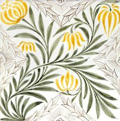 ¤ Floral spray tile, by William Morris & Co. Hand-painted earthenware. England, 1875.