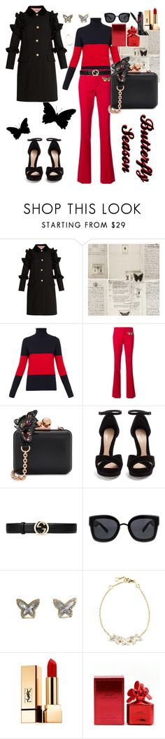 """""""#80th Butterfly Season"""" by karlamy ❤ liked on Polyvore featuring Gucci, WALL, Wood Wood, Sophia Webster, Alexander McQueen, Kendall + Kylie, Armitage Avenue, Yves Saint Laurent, Marc Jacobs and Smashbox"""