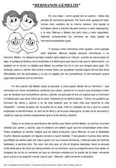 Cuento corto - Hermanos gemelos - con preguntas de comprension High School Spanish, Spanish Teacher, Spanish Classroom, Teaching Spanish, Spanish Phrases, Ap Spanish, Bilingual Education, Reading Activities, Microsoft Word