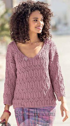 Ажурный пуловер цвета мальвы