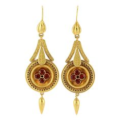 Pair of Antique Gold and Garnet Pendant-Earrings  15 ct., English, ap. 4 dwts. Victorian or Victorian style.
