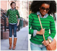 Get Pin-spired! Blue Gingham and Green Get Pin-spired! Blue Gingham and Green Outfit Ideas Gingham Shirt Outfit, Green Shirt Outfits, Green Sweater Outfit, Kelly Green Sweater, Fall Winter Outfits, Autumn Winter Fashion, Spring Outfits, Casual Outfits, Cute Outfits