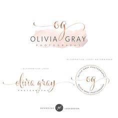 Watercolor Logo Design, Rose gold Branding kit, Photography logo, Watermark, Premade Branding Package, Custom Logo Design, Branding kit 69