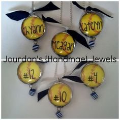Softball Player Name and Number Necklace $25.00. These were gifts for the Senior players!