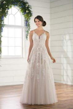 Casual Wedding Dress With A Line Silhouette And Detailed Bodice