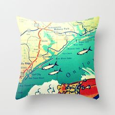 North Carolina Map Pillow  Topsail Island NC  by VintageBeachMaps