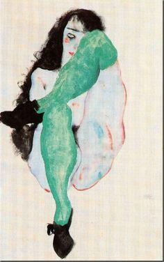 Egon Schiele - Desnudo femenino con medias verdes 1912. Aguada, acuarela y lápiz. 48.2 x 31.8 cm. Colección privada.