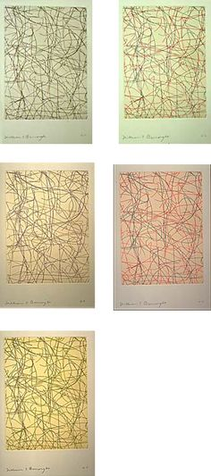 William S. Burroughs | Untitled: A Suite of Five Prints | 1993 | hard ground, line etching with ganpi collé | Can be purchased individually