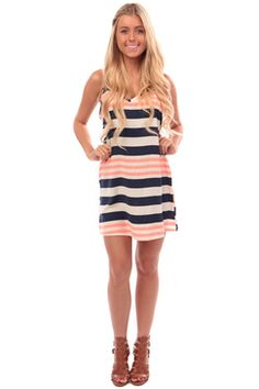 Neon Coral and Navy Striped Shift Dress