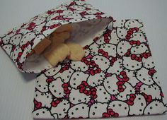 2pc Hello Kitty Reusable Sandwich and Snack Bag by craftsbydiana, $8.00