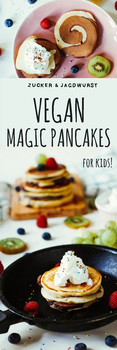 Baking & Cooking with Kids: Vegan Magic Pancakes with chocolate and berries