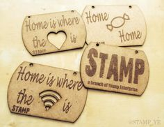 Our first prototype plaques straight from the laser cutter, with some of our own #quirky designs as well as the #STAMP stall sign! #Home #Love #Plaque #Cute #YoungEnterprise #Wifi #Sweet #Heart