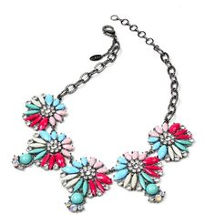 Amrita Singh Blue & Pink Crystal Annie Necklace (€13) ❤ liked on Polyvore featuring jewelry, necklaces, bib statement necklace, pink necklace, pink crystal necklace, bead necklace and pink bead necklace