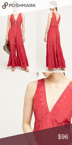 """Anthropologie Elevenses Silk embroidered jumpsuit New with tag Anthropologie Elevenses embroidered silk jumper romper jumpsuit   Size Extra Small  Color Raspberry  Original retail $298                                            An all-in-one outfitting wonder rendered in luxe, embroidered silk. From Elevenses, an Anthropologie-exclusive.  Silk Wide-leg pant Back zip Dry clean Imported Style No. 4123580814992 Dimensions Regular: 58""""L  Boho luxe styling Anthropologie Dresses"""