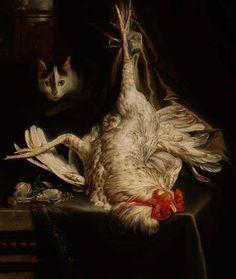 "Samuel van Hoogstraten (Dutch, 1627-1678)     ""Still life with a hanging cockerel and a prowling cat"""