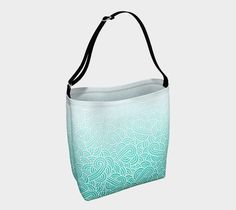 Ombre turquoise blue and white swirls doodles Day Tote by @savousepate on Art of Where #teal #turquoise #aqua #mint #cyan #caribbean #totebag