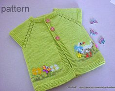 Knitting baby pattern.Pattern baby cardigan.Knitted by AnaSwet