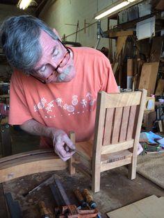 "Our master craftsman Don creates mini Koa rocking chairs with the ""shorts"" after making our regular-sized rockers.  #koa.  #koafurniture. #hawaii. #gohawaii."