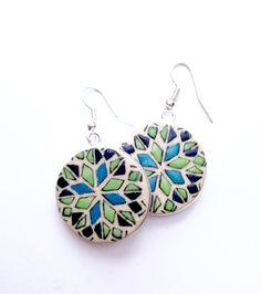 Hearts on Fire - Flat Earrings Fire Heart, Beautiful Things, Hearts, Hand Painted, Pairs, Drop Earrings, Jewellery, Flat, Silver