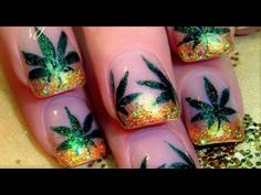 Bitchin' nail art by Robin Moses. I am in awe of her talent. Nail Art Designs, Simple Nail Designs, Nails Design, Robin Moses, Cannabis, Jamaica Nails, Weed Nails, Nail Art 2014, Green Nail Art