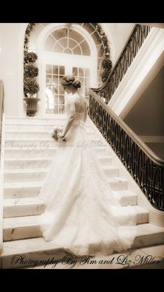 Beautiful Bride on the Grand Staircase at Historic Hotel Bethlehem.