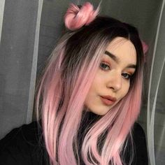 Women Pink Wigs Lace Front Hair Rose Pink Ombre Hair Pink And Orange Hair Nicki Pink Wig – chiveral Pink And Orange Hair, Pastel Pink Hair, Dyed Hair Pink, Pink Hair Streaks, Ombré Hair, Lace Hair, Short Hair Wigs, Short Hair Styles, Stylish Short Hair