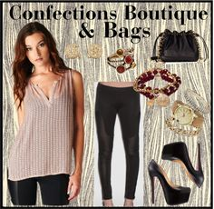 http://www.confectionsboutique.com/BLACK-COLLECTION-Sheer-Bead-and-Sequin-Tank  http://www.confectionsboutique.com/Benjamin-Jay-Leggings