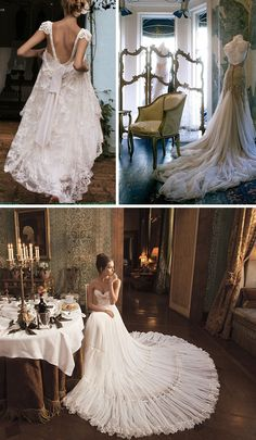 Row 1 – Emanuelle Junqueira via A Diary of Lovely (left); J'Aton Couture via The Bridal Detective (right); Row 2 – Inbal Dror via Belle The Magazine;