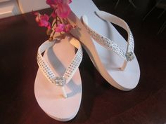 After ceremony dancin shoes! ....Wedding Shoes/Flip Flops/ HIGH WEDGES For by RocktheFlops on Etsy, $38.00