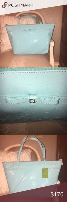 Kate Spade ♠️ Aqua Blue Zip Top Tote Price firm. Femininity at its finest. Toss everything you need into this bag and go! If you live in Seattle  or South Florida then you'll appreciate the fact that it's water resistant! 😉 Let's face it ladies, this is our favorite shade of aqua blue. You'll find this bag goes with most anything in your closet. Price firm. To save, take advantage of bundling. You'll save a percentage off plus reduced shipping. Kate Spade Bags Totes