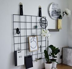 Grid Mood Boards Metal Grid with Leather Straps by HandGDesign